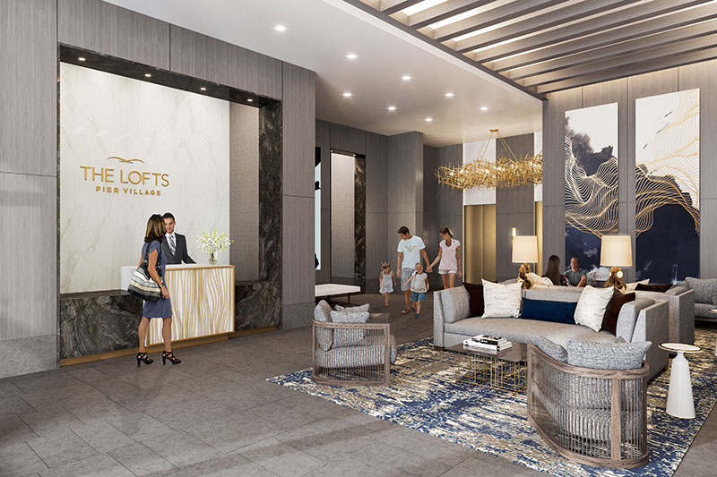 Rendering of lobby area within Lofts Pier Village in Long Branch, New Jersey
