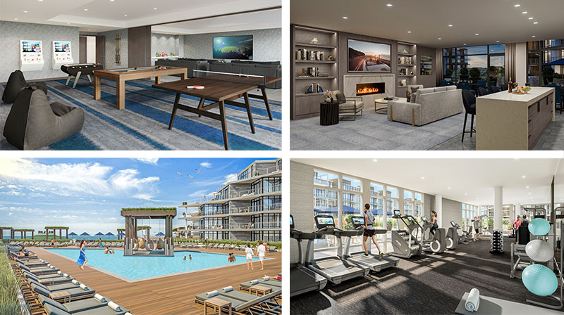 Rendering of amenity spaces within The Lofts Pier Village in Long Branch, New Jersey
