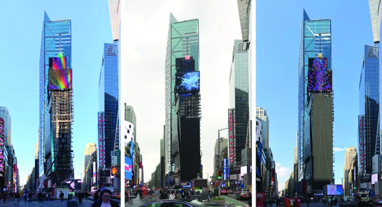 One Times Square's 300-Foot-Long LED Screen Nearly Completed, in Times Square