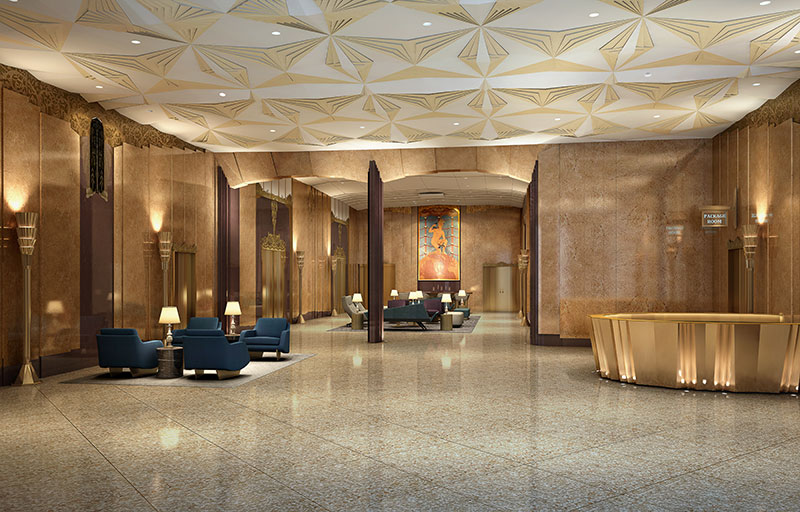 Rendering of lobby at Walker House (CetraRuddy / Inglese Architecture & Engineering)