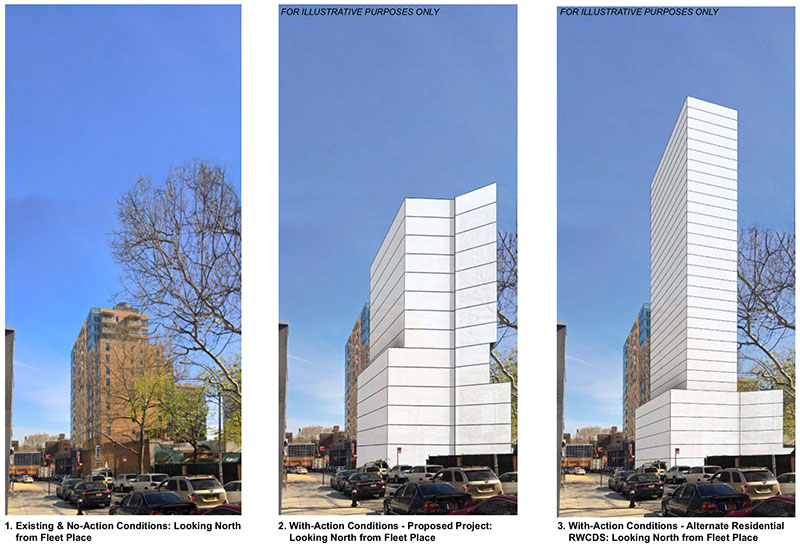 Image depicts existing lot at 101 Fleet Place (left), the proposed commercial office building (center), and the alternative residential building (right)