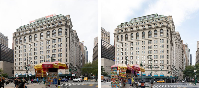 The existing condition (left) versus the proposed conditions (right) at One Broadway - Gensler