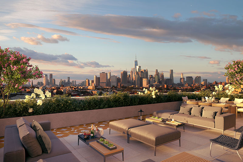 Rendering of the rooftop terrace at 229 9th Street - Happy Living Development