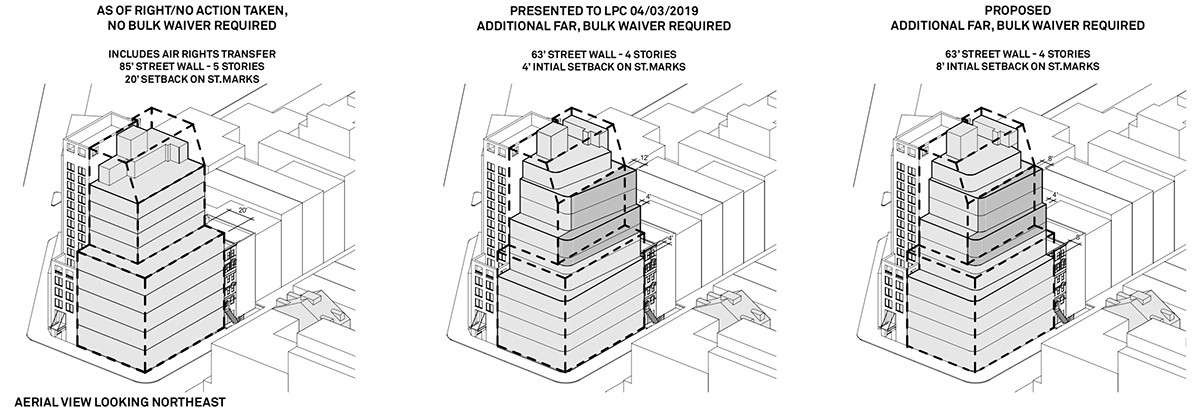 Timeline of revised proposals for 3 Saint Marks Place - Morris Adjmi Architects