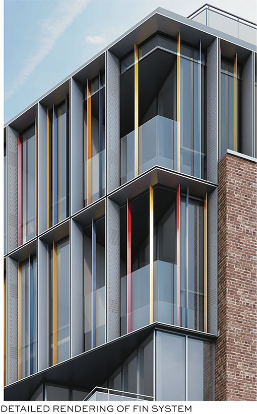 "Rendering of multi-colored ""fins"" that comprise the exterior facade of 53 Pearl Street"