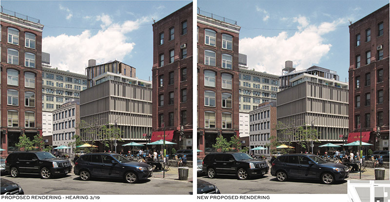 Originally proposed (left) and updated renderings (right) of 53 Pearl Street