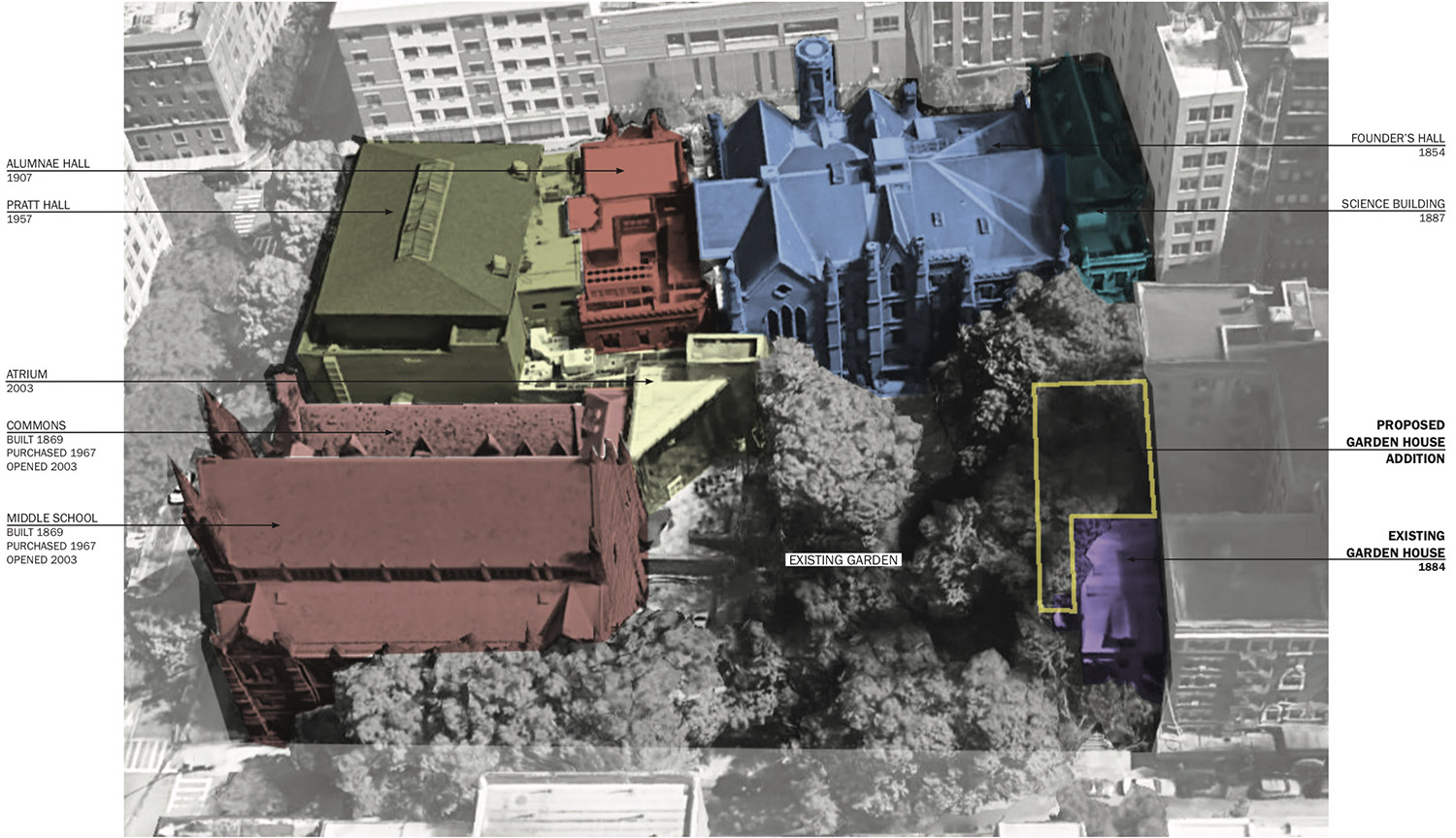 Aerial Map of The Packer Collegiate Institute campus