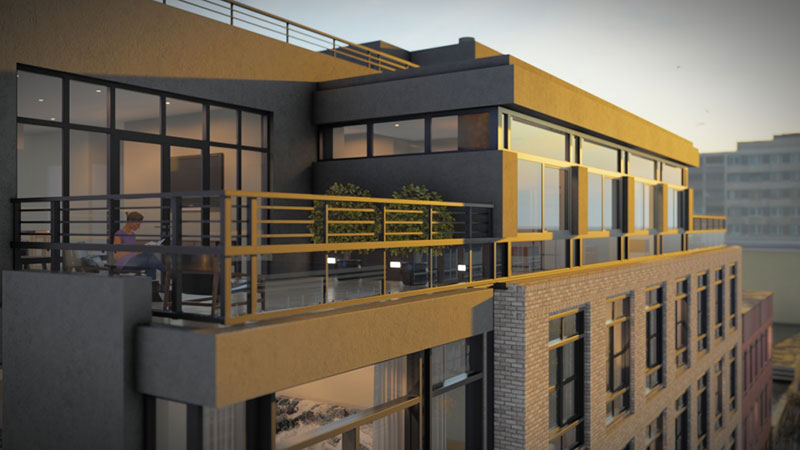 Rendering of 420 Gates Avenue terrace area - Z Architecture