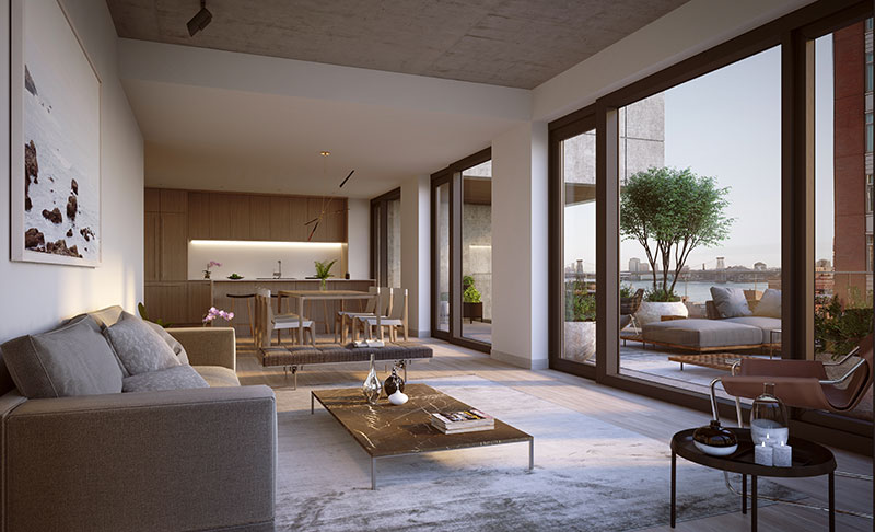 Rendering of residential living room at 98 Front Street (CRAFT)