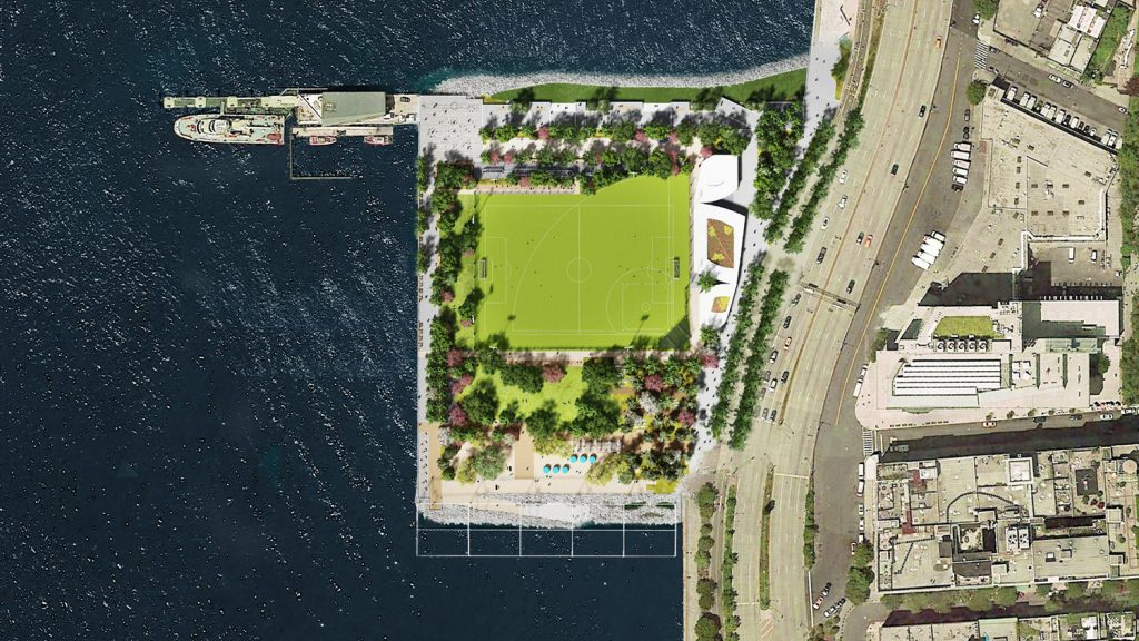 Aerial View of Rendering of Gansevoort Peninsula at Hudson River Park