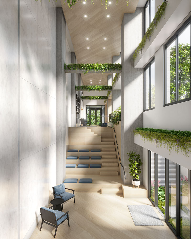 Rendering of residential lobby at Hero LIC - Woods Bagot