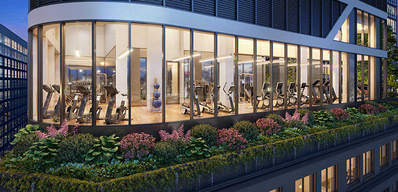 Rendering of the fitness center at Hero LIC - Woods Bagot