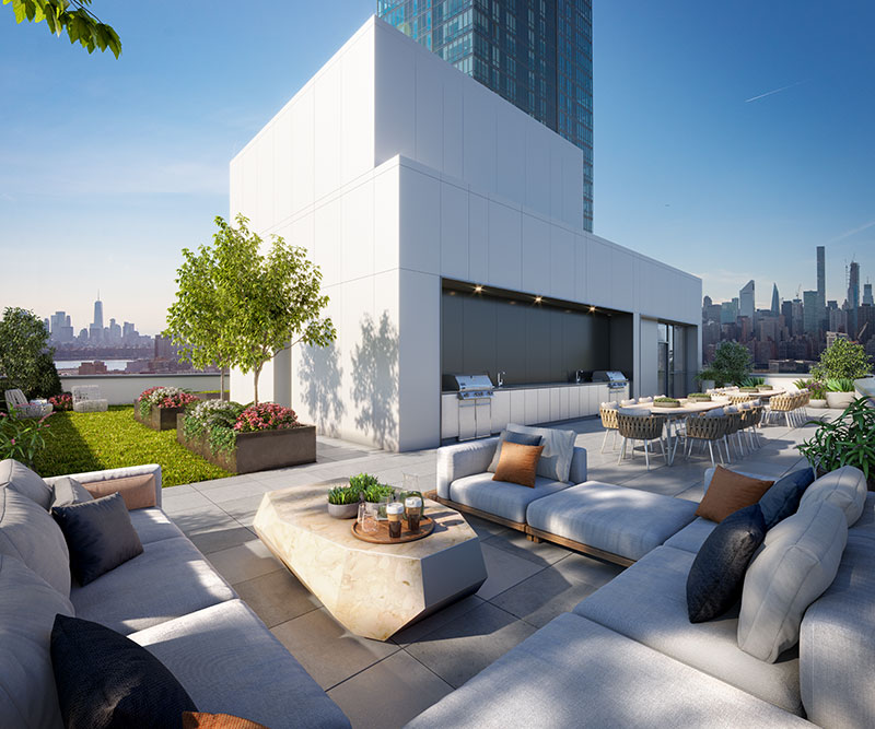 Rendering of the communal roof deck at Hero LIC - Woods Bagot