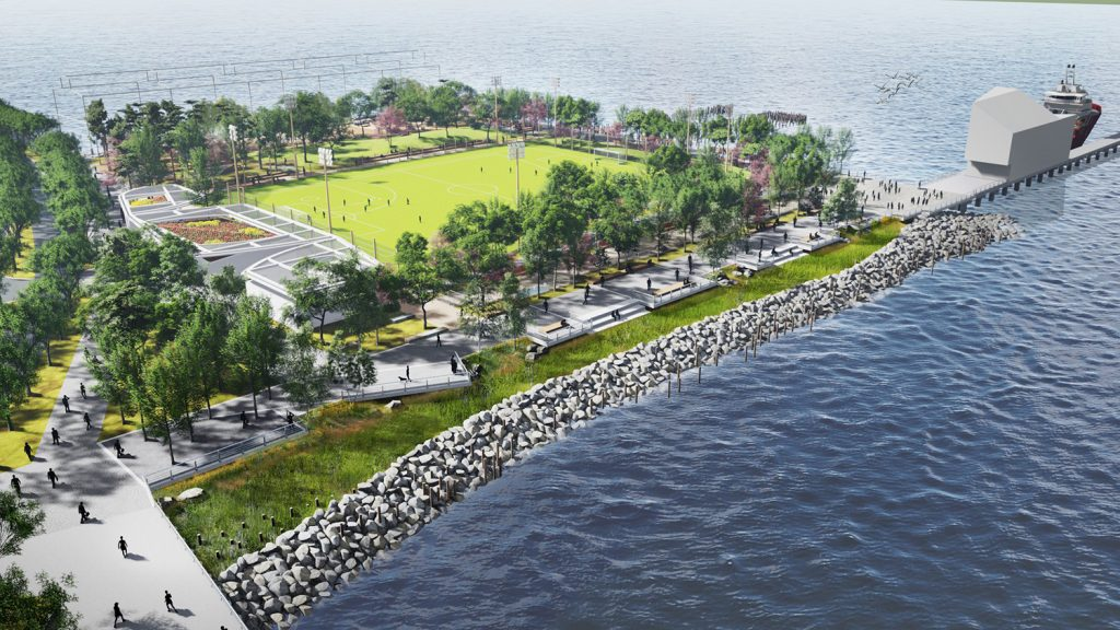Rendering of the Gansevoort Peninsula at Hudson River Park