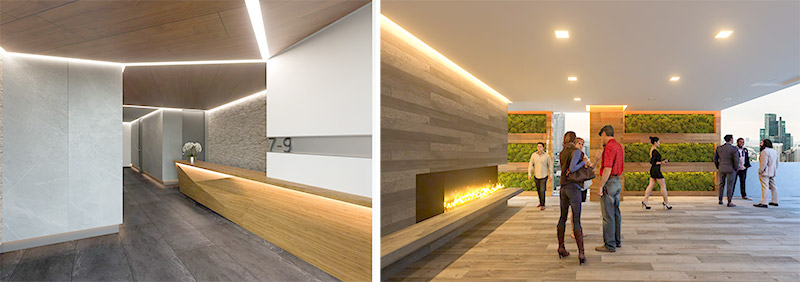 Rendering of 7-9 East 30th Street Lobby (left) and Lounge (right) - Castellan Real Estate Partners