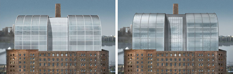 Previously approved (left) and newly proposed (right) renderings of the domed roof at the Domino Sugar Refinery - PAU