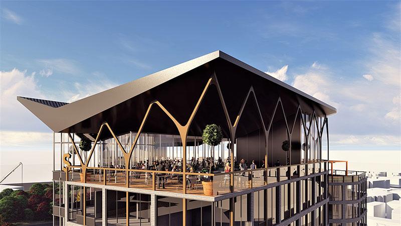 Penthouse Restaurant at 15 Nardone Place Rendering - MVMK Architects