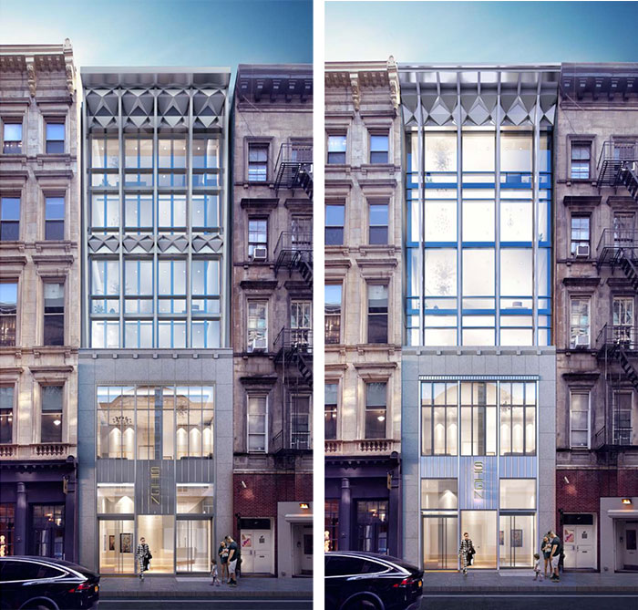Original (left) and newly proposed (right) conditions at 85 Franklin Street - studio MDA