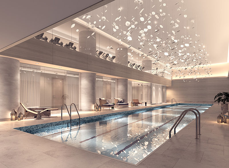 The 75' lap pool withing The Centrale - The Seventh Art