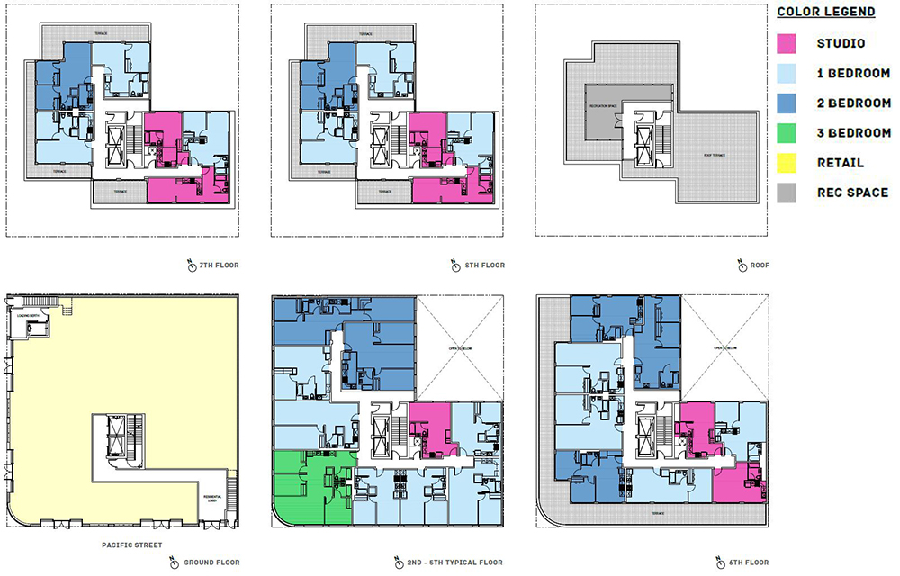 Proposed floor plans for Development Site 1 at 979 Pacific Street - EMP Capital Group