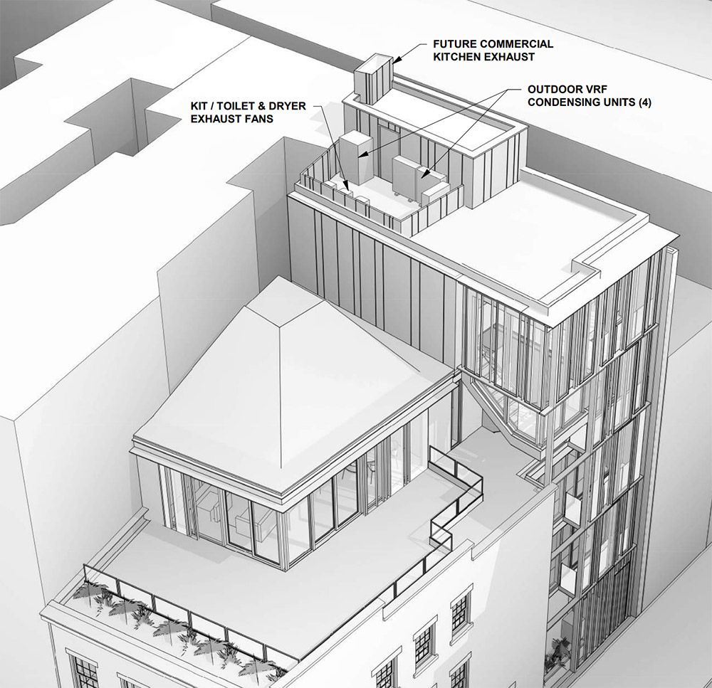 Aerial view of roof area at 21 Greenwich Avenue - BKSK Architects