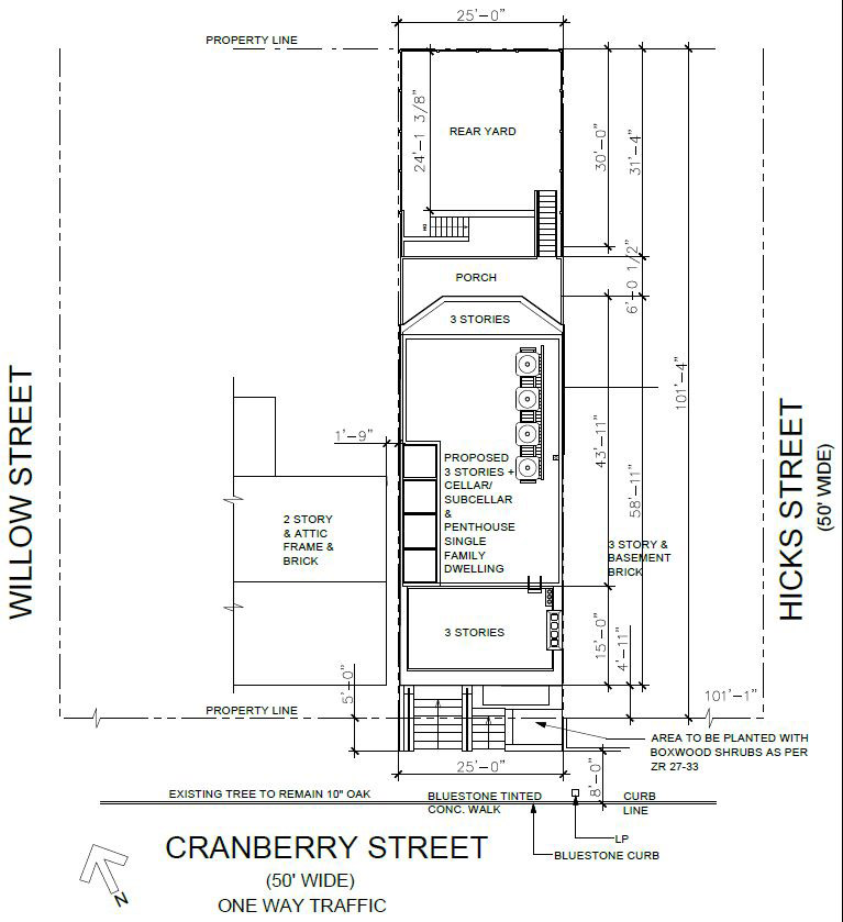 Sketches illustrate elevations and site dimensions for 27 Cranberry Street - NY3 Design Group / Charles Schmitt Architects