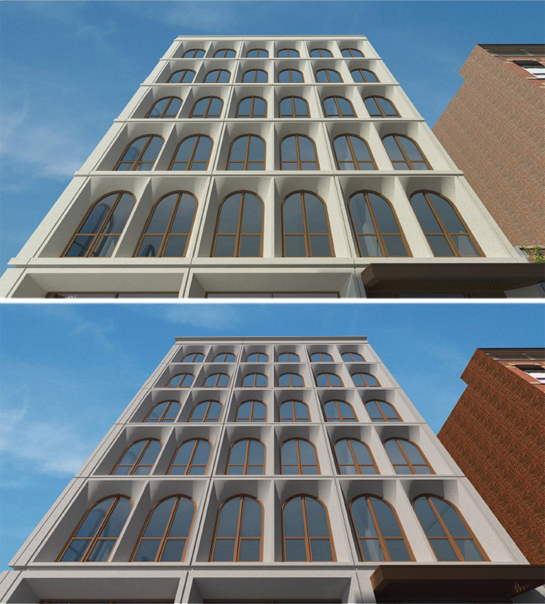 Original (top) versus updated renderings (bottom) of 31 Lispenard Street facade - GF55 Partners