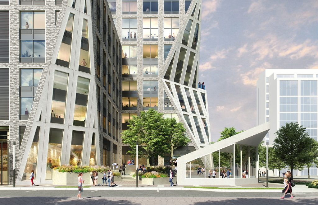 Rendering of public plaza at 351 Marin