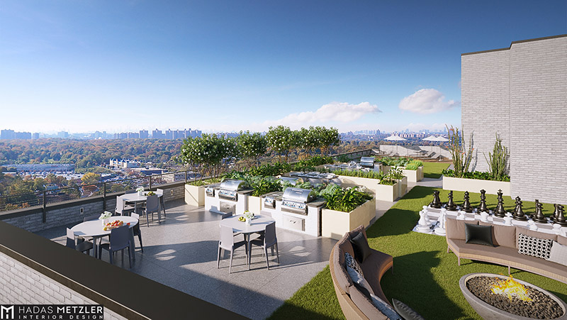 Rendering of rooftop amenity space at 64 Centre Street - Richard Bienenfeld Architect