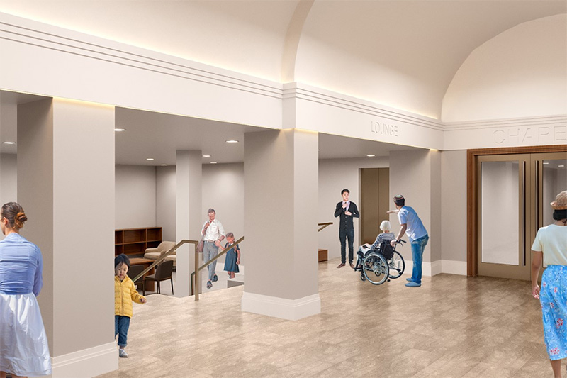 Rendering of expanded lobby areas at Ansche Chesed Congregation - Studio ST Architects