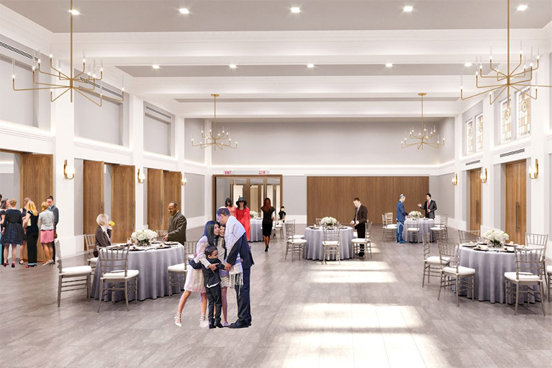 Rendering of event space at Ansche Chesed Congregation - Studio ST Architects