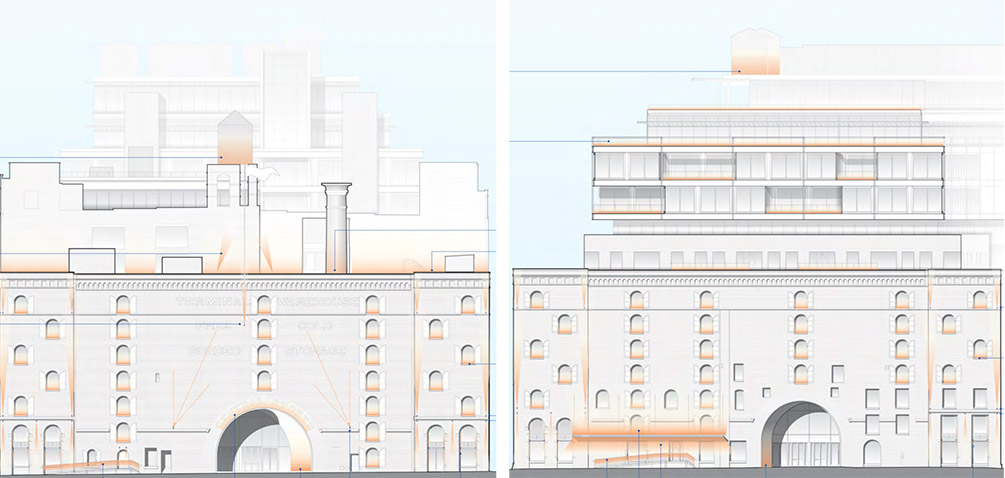 Revised rendering of Central Stores window systems (left) versus originally designed windows (right) - COOKFOX