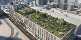Rendering of he Morgan North Post Office roof deck - Tishman Speyer