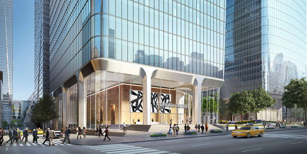 View of lobby and entryway at Two Manhattan West - SOM