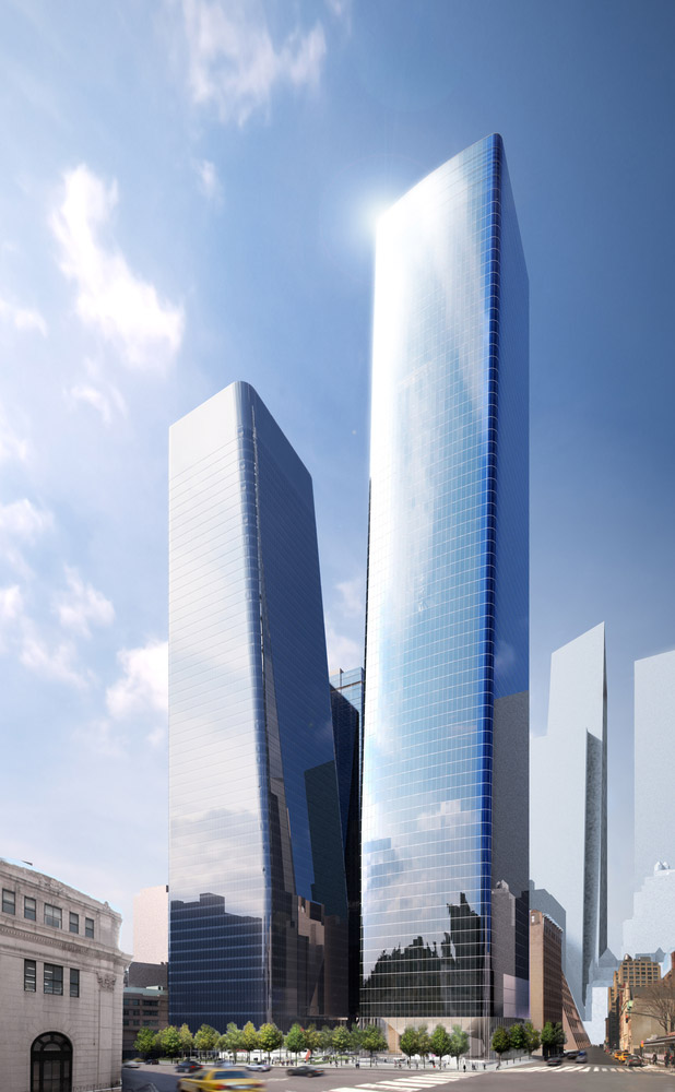 Renderings illustrate Two Manhattan West (left) and One Manhattan West (right)