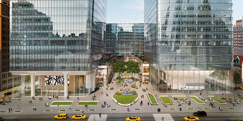 View of central plaza between at One Manhattan West (right) and Two Manhattan West (left) - SOM