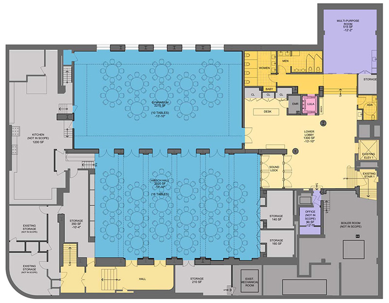Basement floor plan at Ansche Chesed Congregation - Studio ST Architects