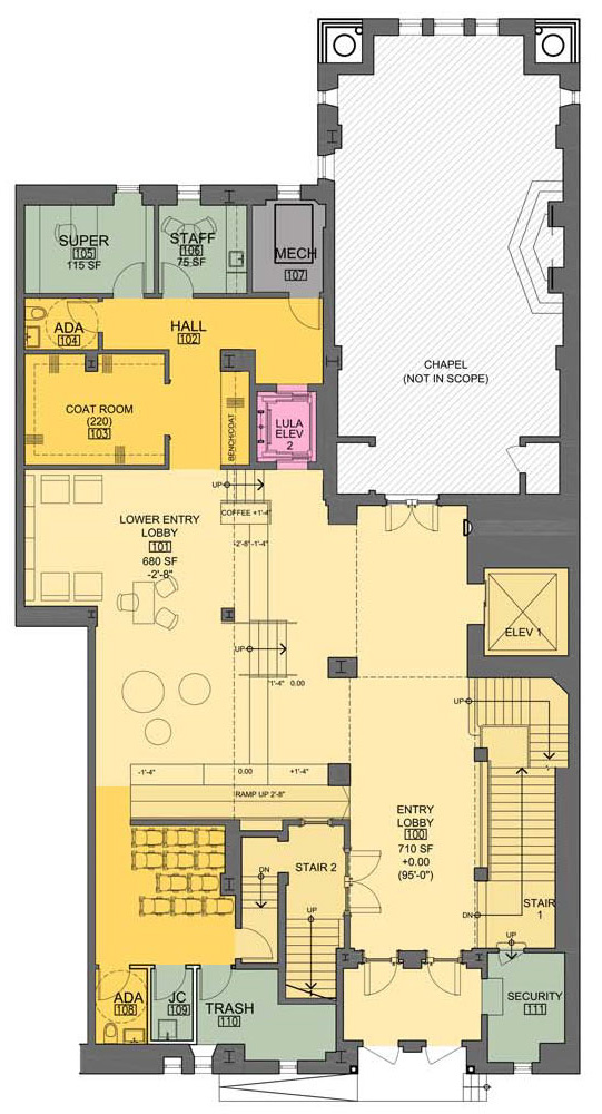Lobby floorplan at Ansche Chesed Congregation - Studio ST Architects