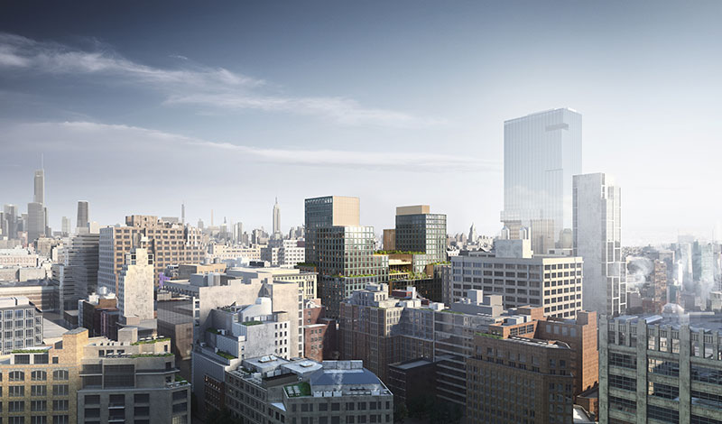 Aerial rendering of 4 Hudson Square - Skidmore, Owings & Merrill