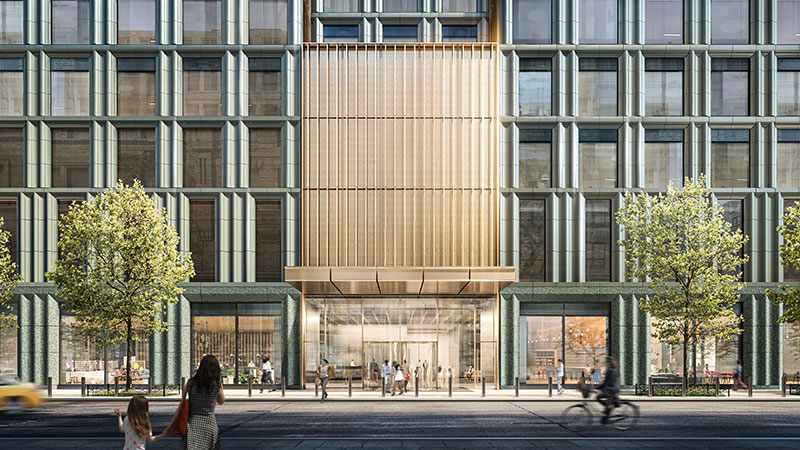 Ground floor rendering of 4 Hudson Square - Skidmore, Owings & Merrill