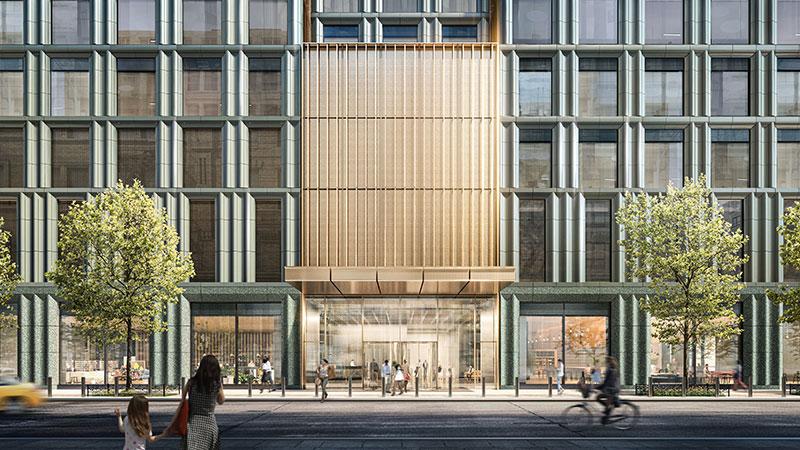 Ground floor rendering of 4 Hudson Square - Skidmore, Owings & Merrill