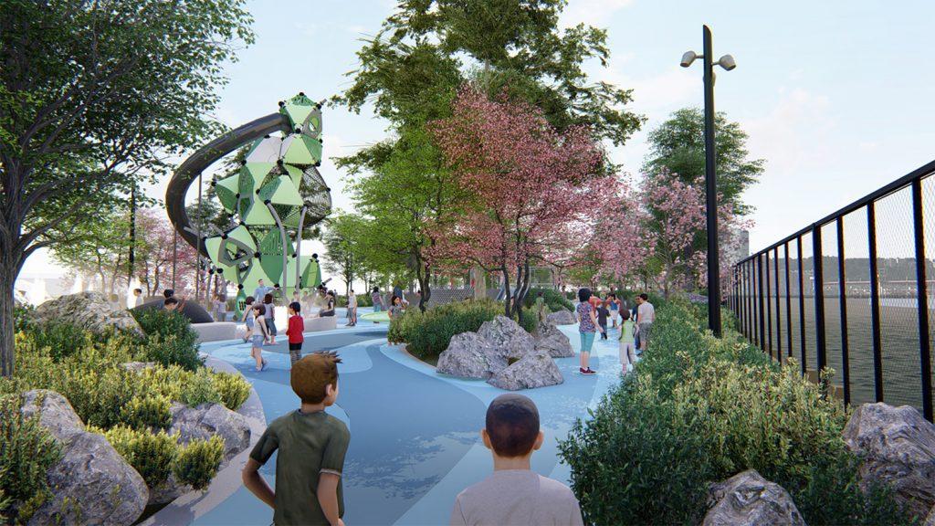 Updated rendering of Pier 97. Rendering courtesy of !melk/Hudson River Park Trust