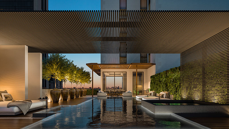 Residential pool terrace at Aman New York