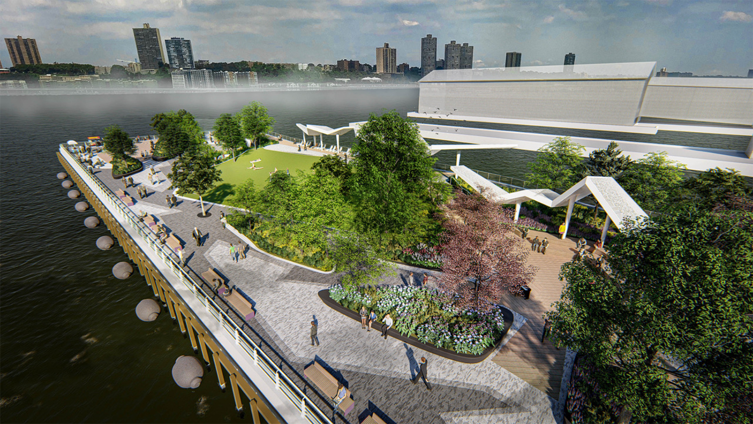 Updated rendering of Pier 97. Rendering courtesy of !melk/Hudson River Park Trust