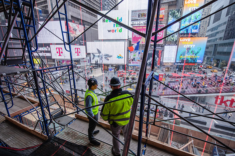 It should be: Robert Israel standing on the site of the future TSX Broadway stage. (Photo: Courtesy of TSX Broadway)
