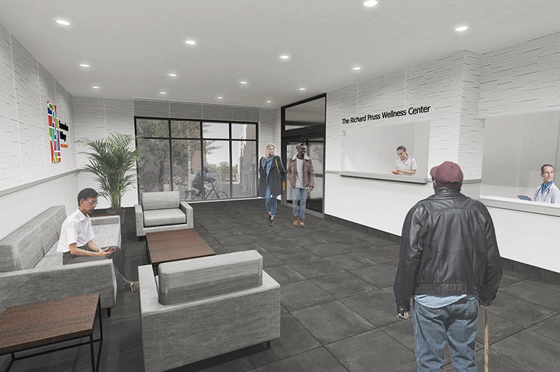 Renderings of interior spaces at the new The Richard Pruss Wellness Center In The Bronx - GF55 Partners