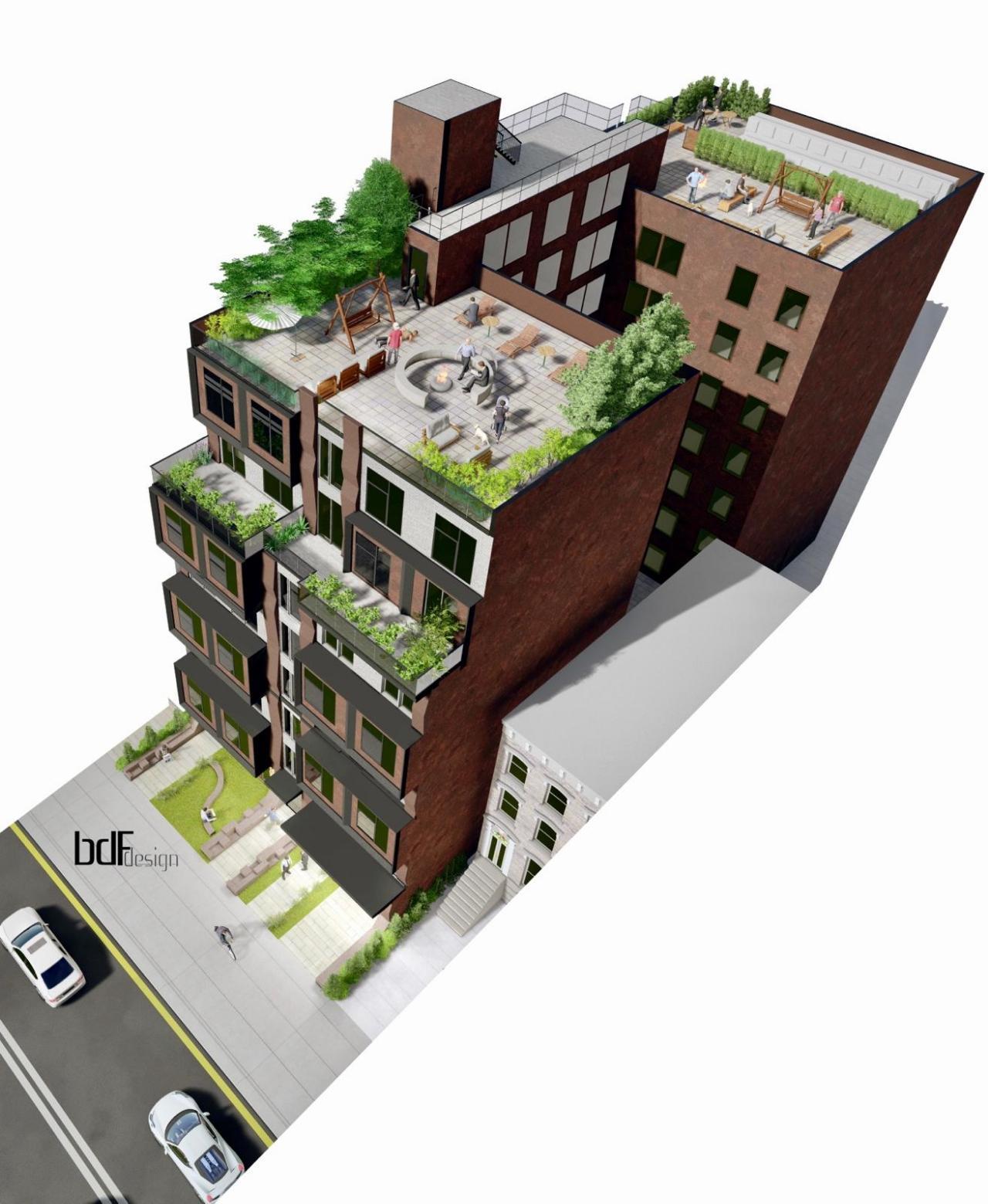 Aerial rendering of 150 Lenox Road - BDF Designs