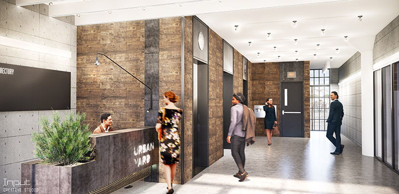Rendering of lobby are within 40-09 21st Street at Urban Yard - Input Creative Studio