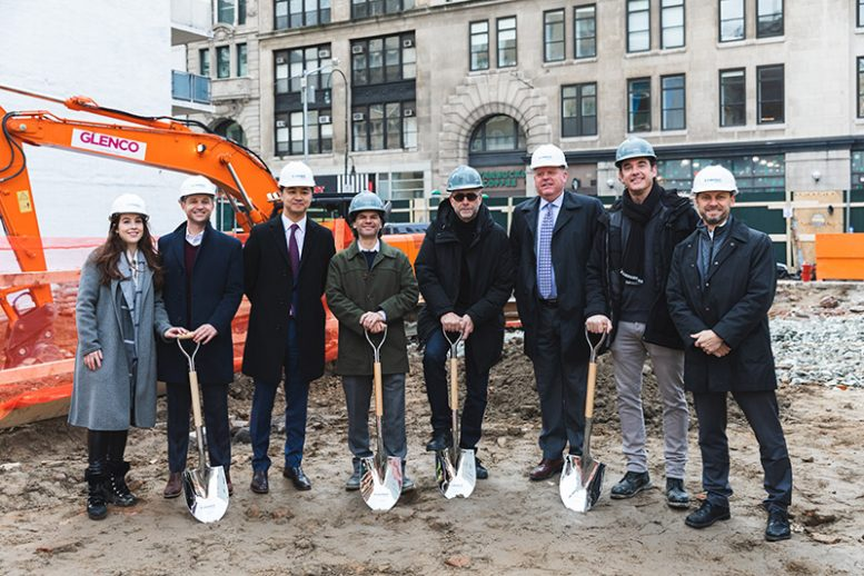 Members of the project team at the ground breaking ceremony for 540 Sixth Avenue. [ From left to right JillPreschel, VP Sales and Marketing, NY Metro Landsea; Kevin Murray, VP Development, NY Metro Landsea; JohnHo, CEO Landsea; David Berger, DNA; Morris Adjmi, Morris Adjmi Architects; Mike Forsum, COO Landsea; AlexSachs, DNA; Jed Lowry, VP Finance Landsea]