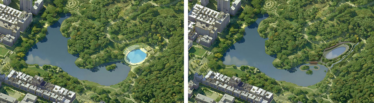 Existing aerial view of the Harlem Meer with Lasker Skating Rink and Swimming Pool [left] and rendering of proposed alterations [right] - Susan T. Rodriguez Architecture Design
